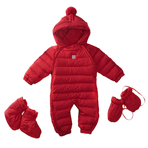 Bebone Newborn Baby Hooded Winter Puffer Snowsuit with Shoes and Gloves - Down Suit