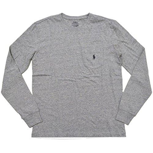 Polo Ralph Lauren Mens Long Sleece Pocket Crew Neck T Shirt (Small, Lawrence Grey) (Ralph Pocket Lauren Polo)