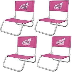 4pieza silla de playa Summer Beach Camping silla de jardín silla plegable silla plegable Rosa