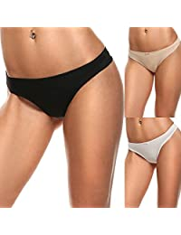 Ekouaer Women's Thong Panties Underwear Assorted 3 Pack