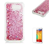 Funyye Liquid Quicksand Case for Samsung Galaxy J3 2017,Sparkly Flowing Glitter Diamond Rose Gold Love Hearts TPU Case for Samsung Galaxy J330,Slim Soft Rubber Flexible Clear Protective Silicone Case for Samsung Galaxy J3 2017 J330 + 1 x Free Screen Protector