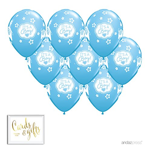 Andaz Press Printed Latex Balloon Party Kit with Gold Cards & Gifts Sign, Boy Elephant, 8-Pk, Baby (Elephant Balloons Baby Shower)