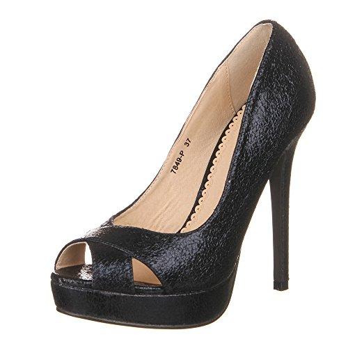 Ital-Design - Zapatos de vestir de Material Sintético para mujer Negro - negro