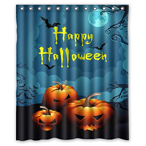 Custom Happy Halloween Design Waterproof Polyester Fabric Bathroom Shower Curtain 60 inch x 72 inch,about 152cm x 183cm