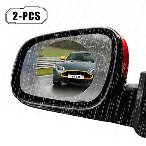 2-Pcs Zenic Car Rearview Mirror Film, Anti-Water Mist Film Anti Fog Anti-Explosion Anti-Glare Rainproof Car Rearview Mirror Window Protective Nano Film