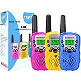 Qianghong T3 Kids Walkie Talkies 3-12 Year Old Children's Outdoor Toys Mini Two Way Radios UHF 462-467 MHz Frequency 22 Channels (Pink&Yellow&Blue)