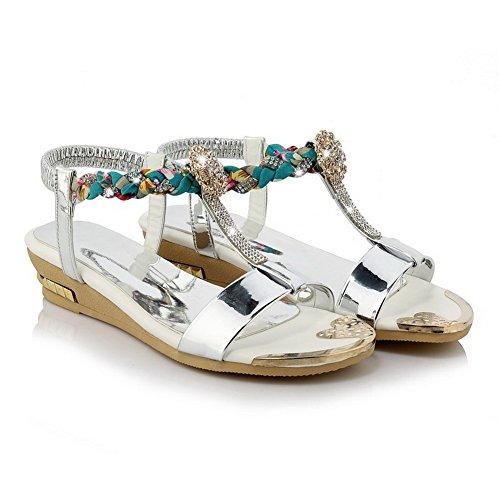 Silver Women's Low WeenFashion Open Assorted Toe Sandals Elastic PU heels Color vfTn1qdT