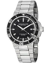 Stuhrling Original Men's 749.02 Aquadiver Regatta Corvet Swiss Quartz Professional Diver Black Dial Stainless Steel Bracelet Watch