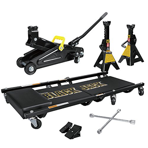 Blackjack Jack Combo Kit 2 Ton Trolley Jack, 1 Pair Jack Stands, Folding Creeper, Lug Wrench 1 Pair Anti-Skid Chocks