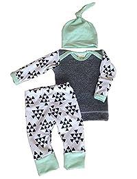 Infant Baby Kids Boys Girls Autumn Warm Clothes Tops+ Pants+ Hat Outfit Set 3Pcs