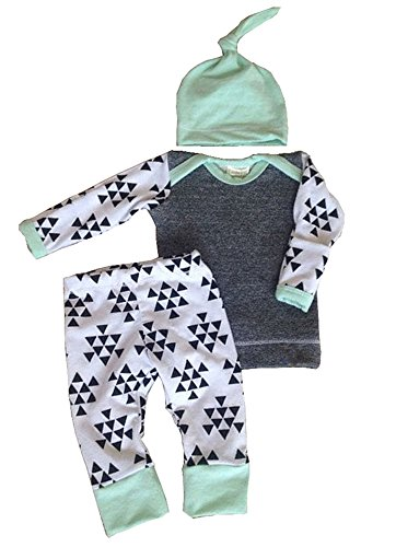 Aliven Baby Boys/Girls Autumn Warm Clothes 3Pcs Outfit Set, Light Green, 70:0-6 mos