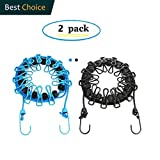 2 Pack Portable Clothesline with 12 Clothespins, Windproof Travel Clothesline Stretchy Retractable Elastic Laundry Clothes Line for Backyard, Vacation Hotel, Balcony Clothes Drying Line(Black+Blue)