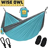 Wise Owl Outfitters Hammock for Camping Single & Double Hammocks - Top Rated Best Quality Gear For The Outdoors Backpacking Survival or Travel - Portable Lightweight Parachute Nylon SO Lt Blue & Grey