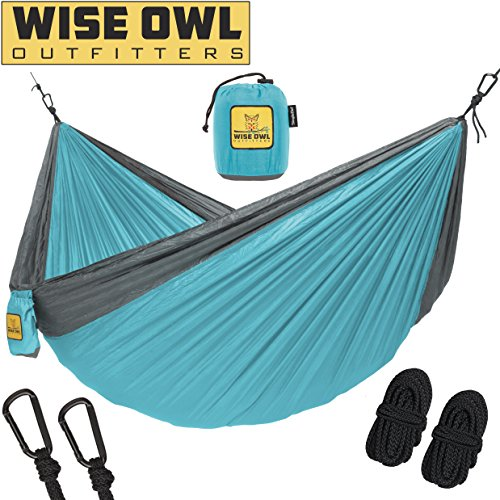 Wise Owl Outfitters Hammock for Camping Single & Double Hammocks Gear for The Outdoors Backpacking Survival or Travel – Portable Lightweight Parachute Nylon SO Lt Blue & Grey Review
