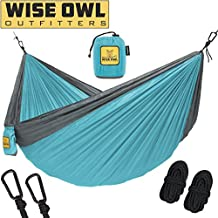 Wise Owl Outfitters Hammock Camping - Single & Double Hammocks Gear The Outdoors Backpacking Survival Travel - Portable Lightweight Parachute Nylon Many Colors