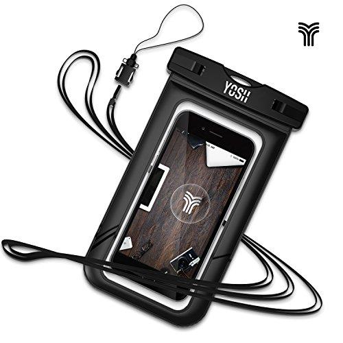 Wasserdichte hülle tasche beutel handyhülle für iPhone 6 5 5s 6s Plus, Samsung Galaxy S6/S7 Edge Plus Note5/4, LG V10 G5, bis zu 6 Zoll. Für Geld Reisepass✪LEBENSLANGE GARANTIE✪YOSH® (Schwarz)