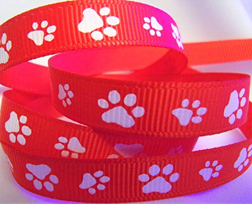 Grosgrain Ribbon - Paw Print - Red Ribbon with White Paws - 3/8 Inch Wide Ribbon - 10 Yards, Great for Hair Bows, Pet and Sports Crafts!