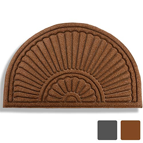 Mibao Half Round Entrance Door Mat, 24 x 36 inch Winter Durable Large Heavy Duty Front Outdoor Rug, Non-Slip Welcome Doormat for Entry, Patio