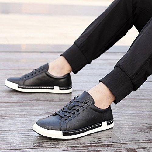 Gris Negro Marrón NEOKER Hombre de Negro Cordones Boda 46 de Vestir Amarillo Oxfords Zapatos 38 Zapatos Cuero Negocios de de Planos Cordones con qTxfB4q