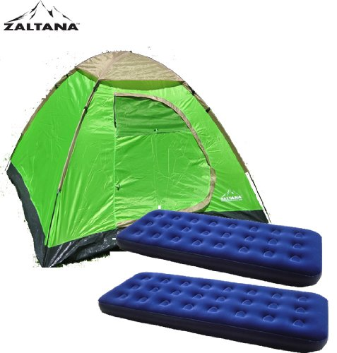 Zaltana lta3person Dome Tent with 2pcs Single Size Air Bed by Zaltana