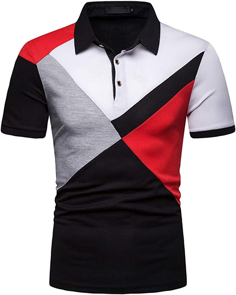 Manzzy Mens Short Sleeve Polo Shirts Patchwork Shirts Casual Slim Fit Shirt Top
