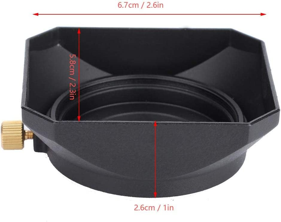 37mm Acouto Portable Square Lens Hood Square Metal Cover Cap Shade Accessory for DV Camcorder Digital Video Camera Lens Filter