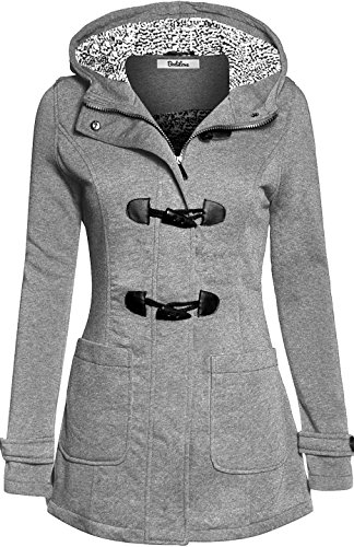BodiLove Women's Cozy Duffle Coat with Fleece Lining Heather Gray M
