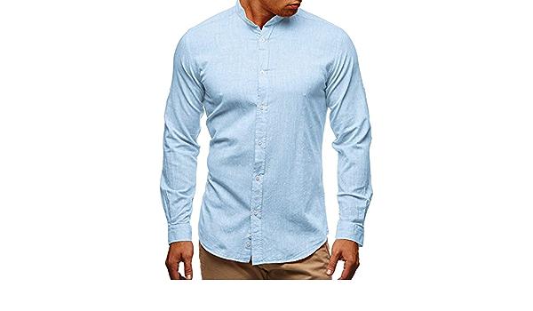 Minetom Camisa para Hombre Lino Blusa Casual de Manga Larga ...
