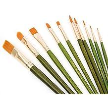 Fabart 10 Piece Artist Paint Brush Set - Round, Flat, Filbert, Wash