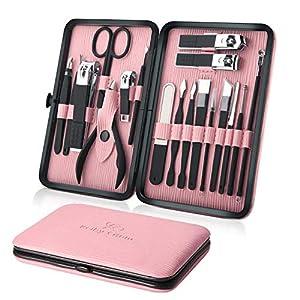 Tagliaunghie Set Professionale – Grooming Kit Strumenti per Manicure e Pedicure 18pcs con Box (Rosa)