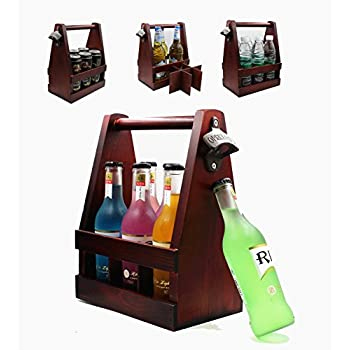 Wooden Beer Carrier, Holder, Tote, Caddy, Basket with Bottle Opener, Handcrafted Wood, Six Pack