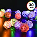 Solar Powered String Lights, Decornova 19.7 feet 30 LEDs Solar Rattan Ball LED Party String Lights for Patio with IP44 Solar Panel, 2 Modes, Warm White