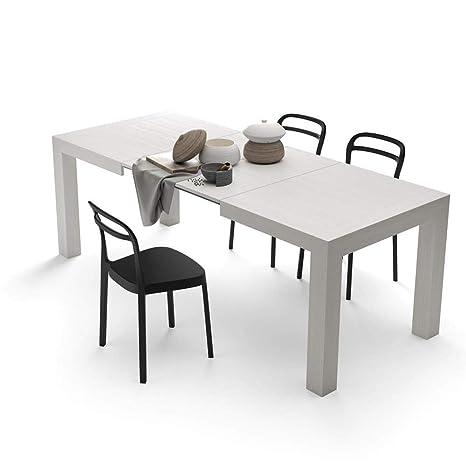 Mobili Fiver, Mesa de Cocina Extensible, Modelo Iacopo, Color Blanco Ceniza, 140 x 90 x 77 cm