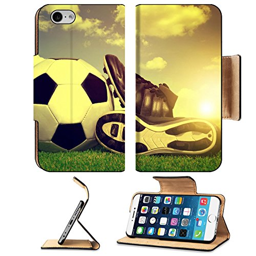 MSD Premium Apple iPhone 6 iPhone 6S Flip Pu Leather Wallet Case IMAGE ID 33242002 Vintage soccer background with ball and cleats