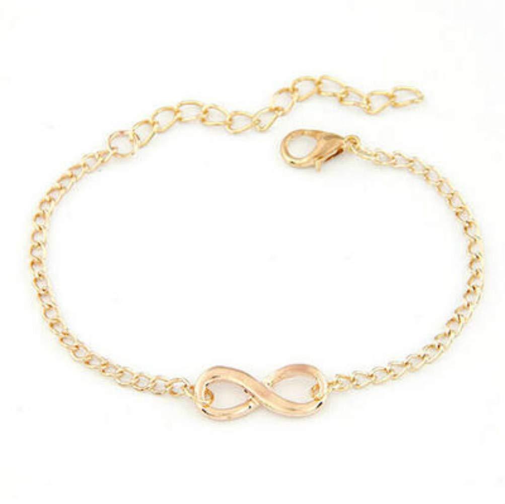 8 Shape Infinity Charm Bracelet New Women Men Handmade Chain Bracelet Jewelry Gift Gold Silver