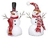 Red and White Plush Fabric 16 inch Winter Christmas Snowmen Set of 2