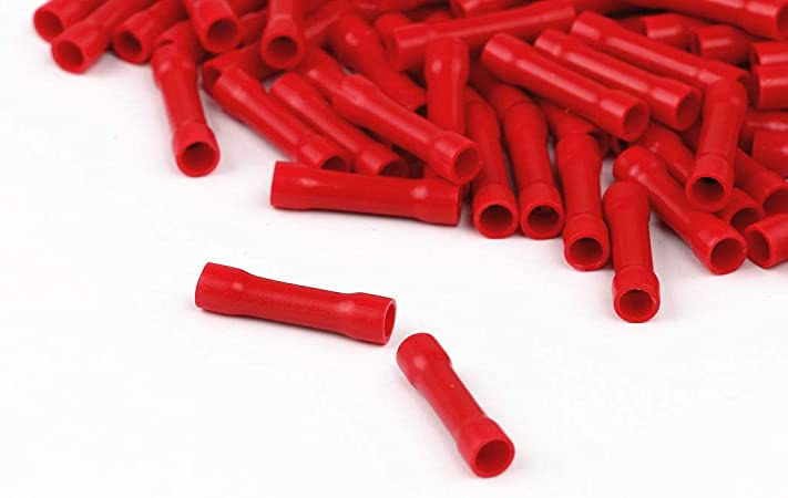Crimp Butt Connectors Straight Electrical Wire Crimp Terminals Pack of 100pcs Assorted Full Insulated Butt Wire Crimp Connectors