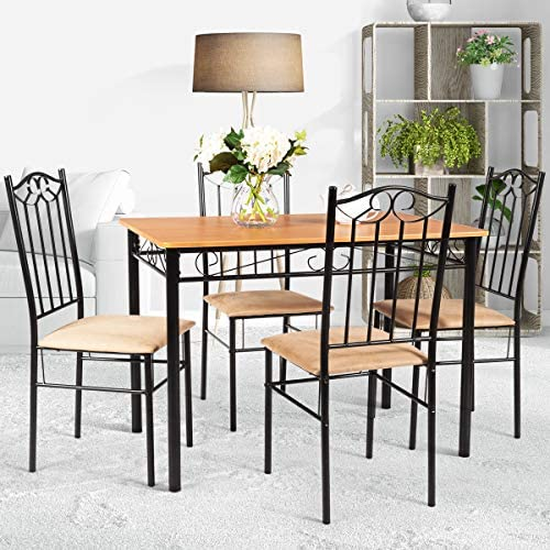 home, kitchen, furniture, kitchen, dining room furniture,  table, chair sets 6 image Tangkula 5 Piece Dining Table Set Vintage Wood promotion