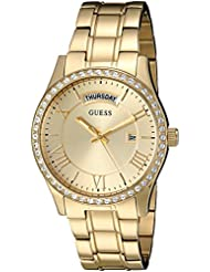 GUESS Womens U0764L2 Dressy Gold-Tone Stainless Steel Multi-Function Watch with Day & Date Dial and Pilot Buckle
