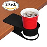 Supercope Cup Holder Clip - Table Desk Side Bottle Cup Stand The DIY Glass Clamp Storage Saucer Clip Water Coffee Mug Holder Saucer Clip Design for Home & Office(black&white))