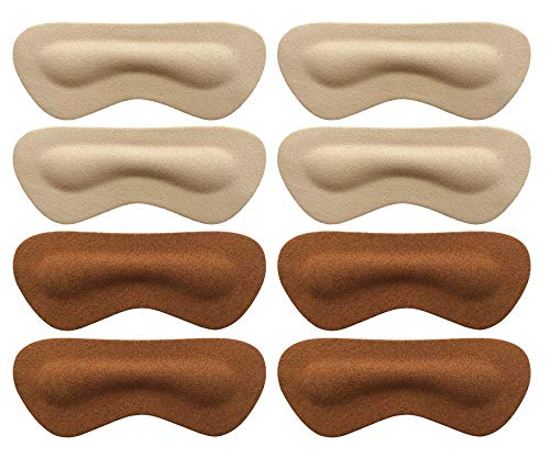 Heel Pads Grips Liners Inserts for Shoes Too Big,Shoe Filler Improved Shoe Fit and Comfort,Prevent Blisters, 4 Pair Unisex (Beige/Brown, Thick)