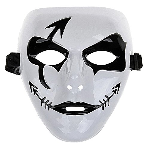 Maze Black & White Stylized Clown PVC Full Face Mask For Musicians & Dancers, 1- One Size ()