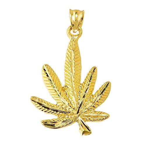 High Polish 10k Yellow Gold Pot Cannabis Charm Marijuana Leaf Charm ()