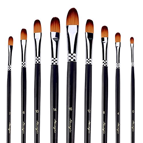 Long Filbert - Filbert Brushes for Acrylic Oil Watercolor by Amagic 9 Pcs Artist Face and Body Professional Painting Kits with Synthetic Nylon Tips