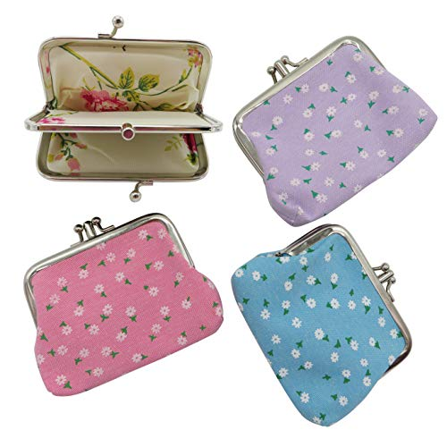 (DODOGA Women Girl Vintage Canvas Change Purse Change Pouch with Double Kiss Lock Clasp Coin Purse Clutch Coin Pouches Small Mini Vintage Coin Wallet for Small Items,4pcs)