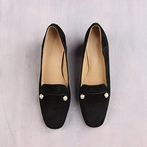 Jqdyl Thick High Shoes Heel Single Round heels Black Head Shoes Single rrdFBq