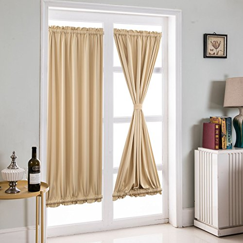 r Curtain Panels Shade Thermal Insulated Patio Glass Door Drapes –Insulation and Shading (Beige,25 W by 72L inches) ()