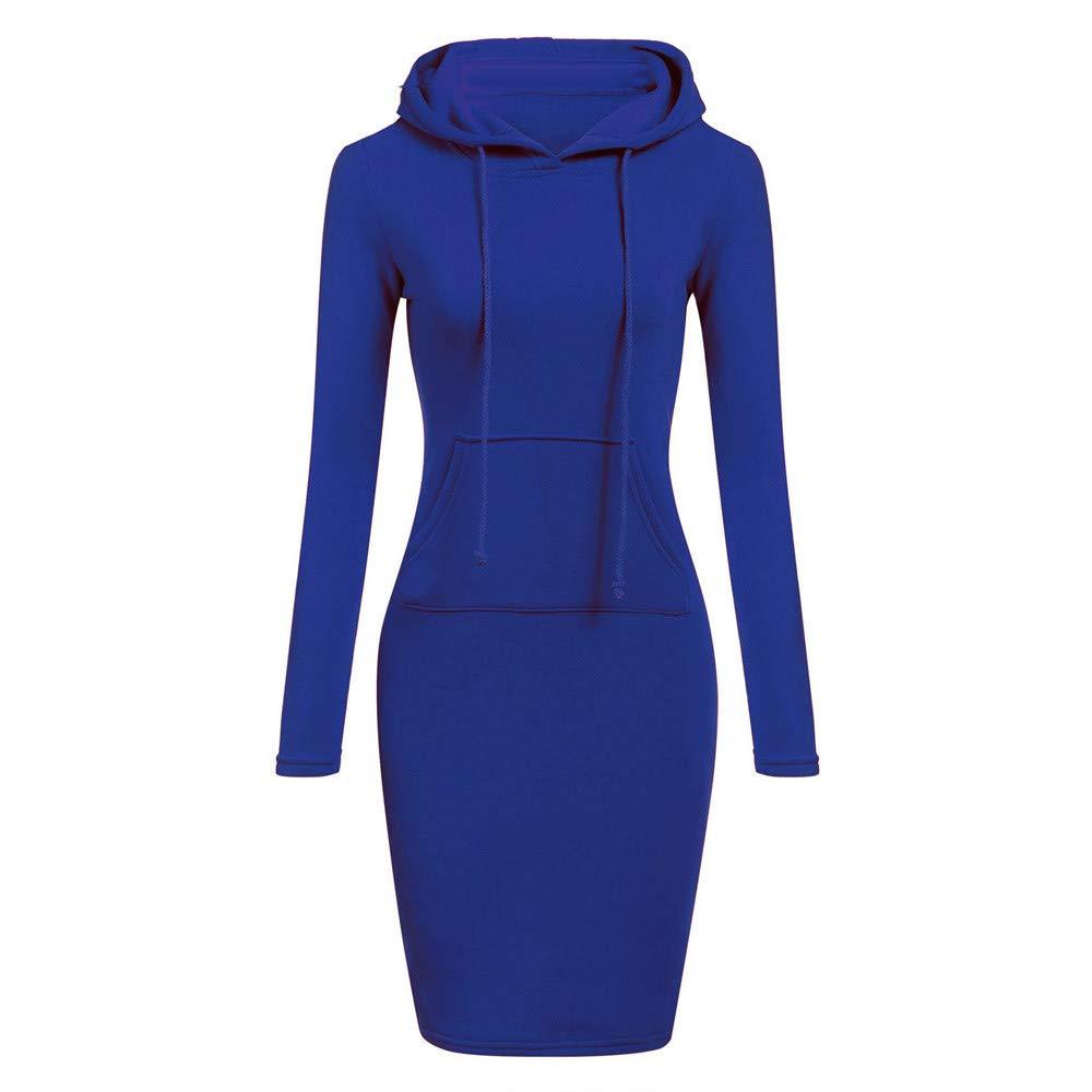 TOPUNDER Long Sleeve Patchwork Dress Casual Long Hooded Sweatershirt Dresses Women Blue