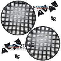 12 Steel Speaker Subwoofer Sub Waffle Mesh Grill Cover w/ Clips & Screws (pair)