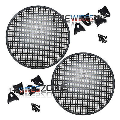 12 Steel Speaker Subwoofer Sub Waffle Mesh Grill Cover w/Clips & Screws (pair)